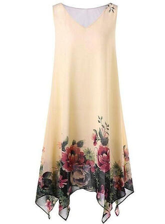 Print/Floral Sleeveless Shift Knee Length Casual/Elegant/Plus Size Dresses