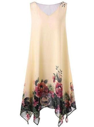 Imprimée/Fleurie Sans Manches Droite Longueur Genou Décontractée/Élégante/Grande taille Robes