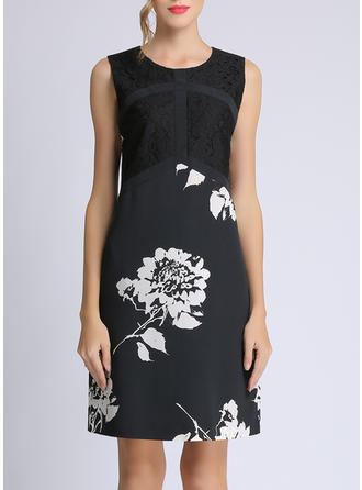 Lace/Print/Floral Sleeveless A-line Above Knee Casual/Elegant Dresses