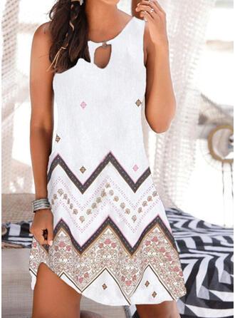 印刷 ノースリーブ シフトドレス 膝上 カジュアル/ボーホー/休暇 タンク ドレス