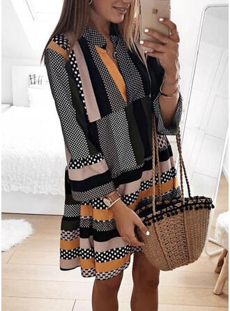 PolkaDot/Striped Long Sleeves Shift Knee Length Casual Tunic Dresses