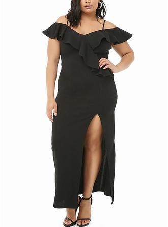 Solid Cap Sleeve Sheath Maxi Little Black/Party Dresses