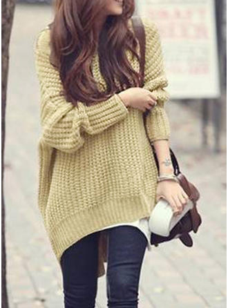 Cotton Hooded Plain Chunky knit Sweater Dress