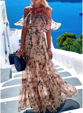 Print 1/2 Sleeves A-line Sexy/Casual/Vacation Maxi Dresses