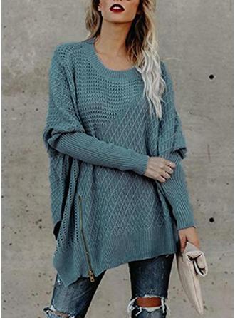 Jednolity Masywna dzianina Okrągły dekolt Sukienka sweterkowa