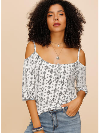 Print Spaghetti Strap 3/4 Sleeves Casual Sexy Blouses