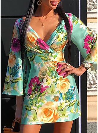 Print/Floral 3/4 Sleeves/Flare Sleeves Bodycon Above Knee Casual/Elegant Dresses