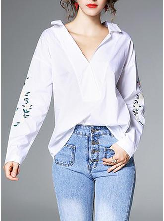 Mieszanki bawełniane Lapel Haftowana Długie rękawy Koszula Bluzki