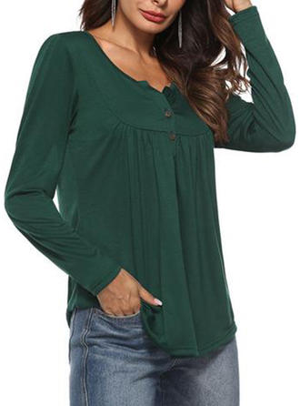 Cotton Blends Round Neck Plain Long Sleeves Button Up Blouses