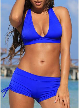 Effen kleur Hoge Taille Halter Sexy Sport Bikini's Badpakken