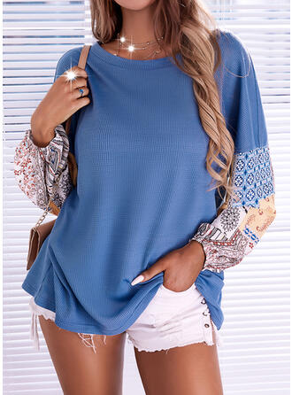 Print Round Neck Long Sleeves Dropped Shoulder Casual Blouses