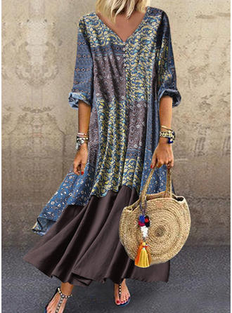 Print/Patchwork 3/4 Sleeves Shift Maxi Casual Dresses