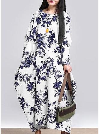 Floral Round Neck Maxi Shift Dress