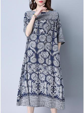 Wydrukować Okrągły Dekolt Midi Sukienka Krótka