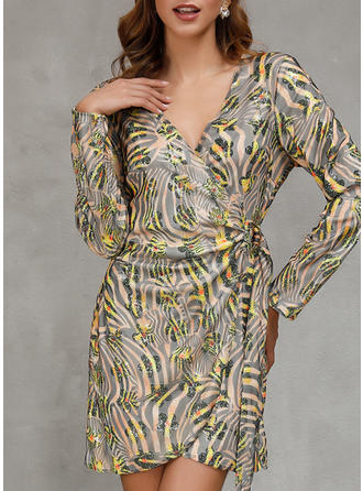 Print Long Sleeves Sheath Asymmetrical Casual Dresses