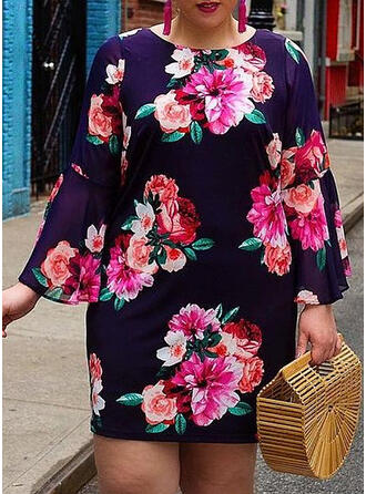Print/Floral Long Sleeves Sheath Above Knee Casual/Plus Size Dresses