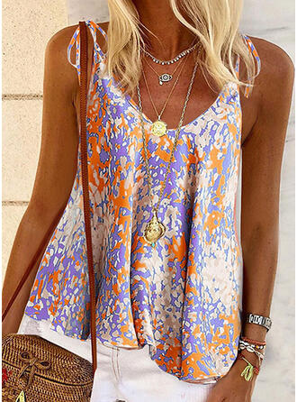 Print Spaghetti Strap Sleeveless Casual Knit Tank Tops