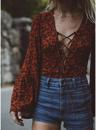 Print Floral V-Neck Flare Sleeve Long Sleeves Casual Blouses