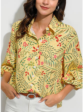 Print Blomster Lapel Lange ærmer Button-up Casual Bluser
