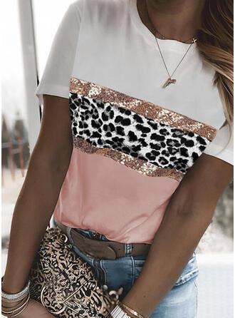 Blocchi di colore leopardo Girocollo Maniche corte Magliette