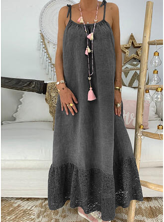 Lace/Solid Sleeveless Shift Sexy/Casual/Vacation Maxi Dresses