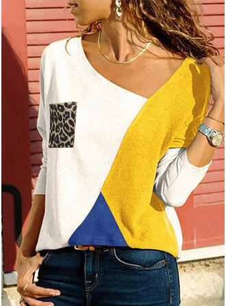 Color Block Animal Print V-Neck Long Sleeves Casual T-shirts