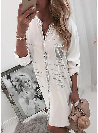 Print/Sequins Long Sleeves Shift Knee Length Casual Shirt Dresses