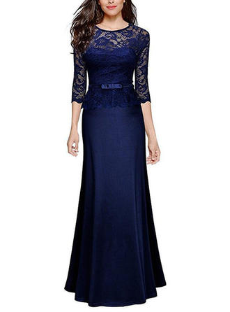 Lace Solid Round Neck Maxi Sheath Dress