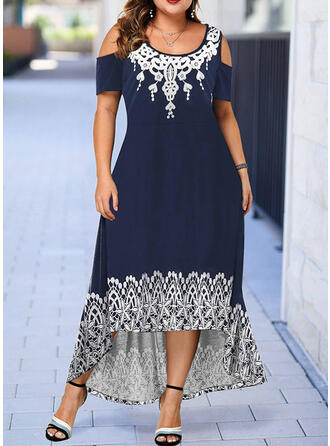 Print Short Sleeves/Cold Shoulder Sleeve A-line Asymmetrical Casual/Plus Size Dresses