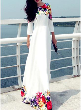Kwiatowy Okrągły Dekolt Maxi Sukienkę przesunąć