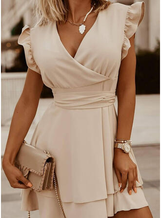 Solid Cap Sleeve A-line Above Knee Elegant Skater Dresses