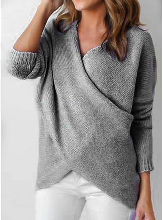Acrylic V-neck Plain Ribbed Sweater