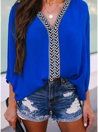 Print V-Neck Batwing Sleeve 3/4 Sleeves Casual Blouses