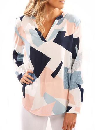 Mieszanki bawełniane Litera V Geometryczny Długie rękawy Nieformalny Bluzki