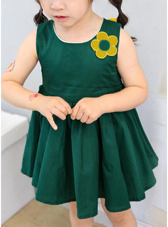 Girls Round Neck Solid Patchwork Casual Cute Dress