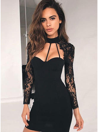 Polyester/Spandex With Lace Above Knee Dress