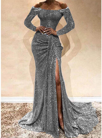Solid Long Sleeves Sheath Party/Elegant Maxi Dresses