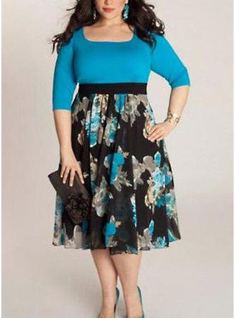 Print U Neck Midi A-line Dress