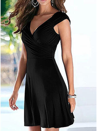 Solid Sleeveless Sheath Above Knee Little Black/Casual/Elegant Dresses