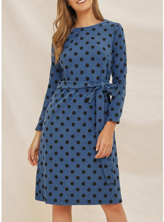PolkaDot Long Sleeves A-line Knee Length Casual/Elegant Dresses