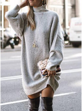 Solid/Chunky knit/Cable-knit Long Sleeves Shift Above Knee Casual/Long/Oversized Dresses