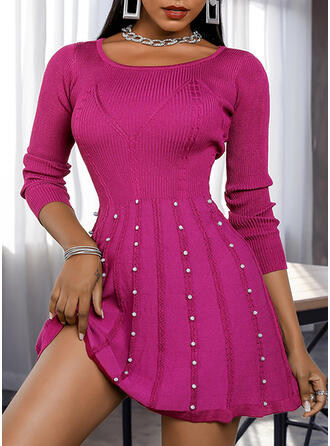 Solid/Beaded Long Sleeves A-line Above Knee Casual Sweater/Skater Dresses