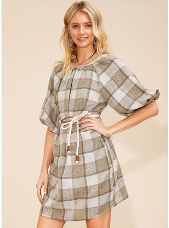 Plaid 1/2 Sleeves A-line Above Knee Casual Dresses