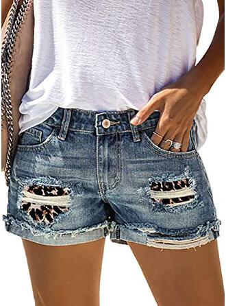 Rasgada Leopardo Casual Clásico Pantalones cortos Vaqueros