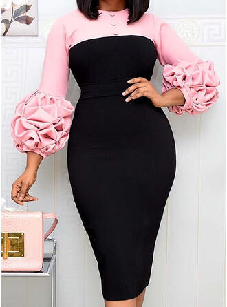 Color Block Long Sleeves Bodycon Knee Length Party/Plus Size Dresses