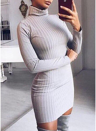 Solid/Ribbed Long Sleeves Bodycon Above Knee Little Black/Casual/Long/Tight Dresses