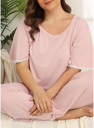 Round Neck Short Sleeves Solid Color Plus Size Attractive Pajamas Sets