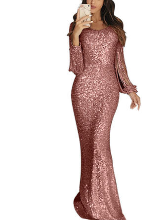Sequins Long Sleeves Sheath Casual/Party Maxi Dresses