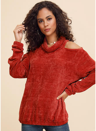 Solid High Neck Cold Shoulder Long Sleeves Casual Sexy Christmas Knit Blouses