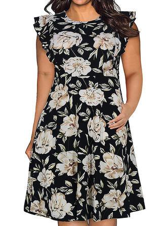 Print/Floral Cap Sleeve A-line Knee Length Casual/Plus Size Dresses